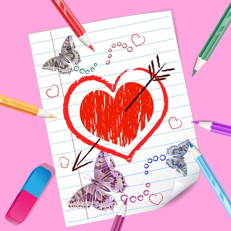 Color pencils with heart drawing Stock Photo