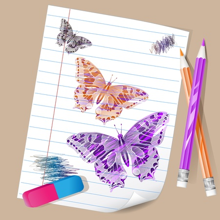 Color pencils with butterflies photo