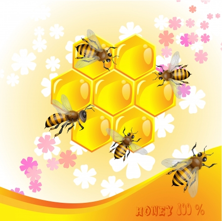 Floral background with honey and bees 일러스트