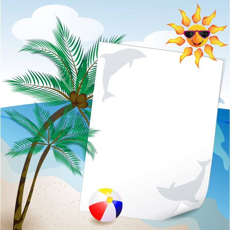 summer and sea background with palm tree Vector