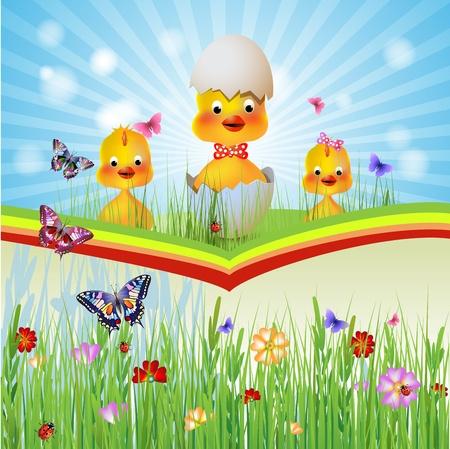 Three chicken hen in the grass Illustration