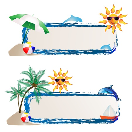 Banner with sea and summer background Vector