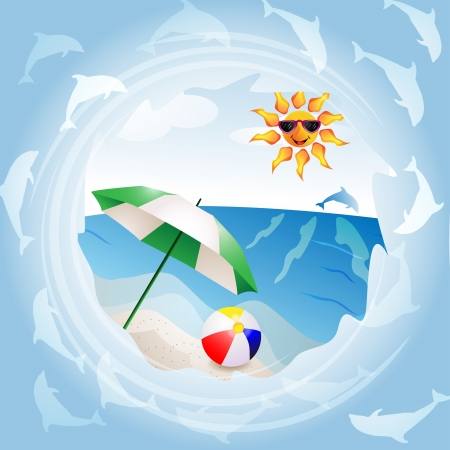 Beach with umbrella Stock Vector - 13807655
