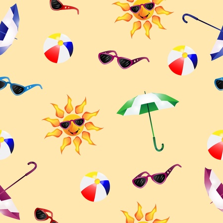 Pattern with umbrella  , sunglasses , ball beach and sun Vector