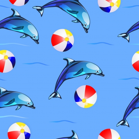 Pattern with dolphins and ball beach