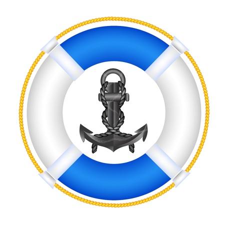 アンカーと救命浮輪