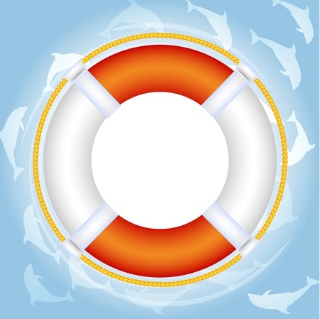 Lifebuoy over water with dolphins  Illustration