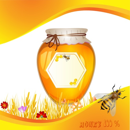 Floral background with honey and bees 向量圖像