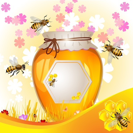 Floral background with honey and bees Stock Vector - 14002873