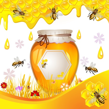 honeycomb: Floral background with honey and bees Illustration