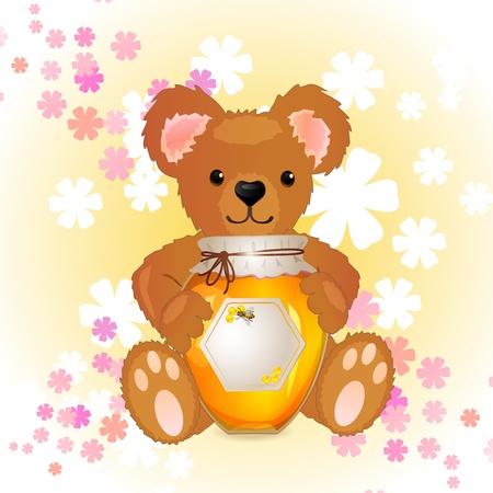 蜂蜜とかわいいクマの子のイラスト
