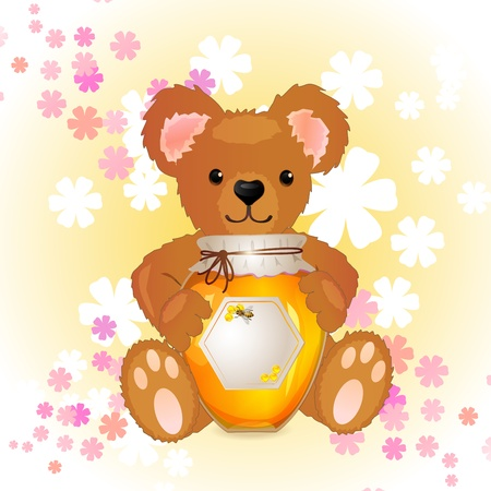 Illustration of cute bear cub with honey
