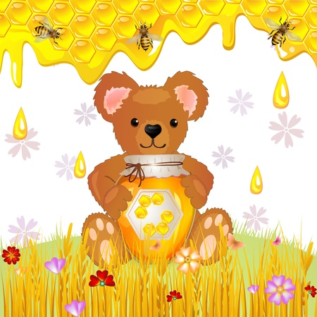 Illustration of cute bear cub with honey Vector