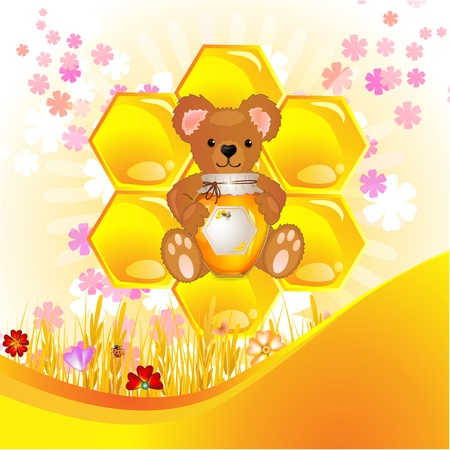 Illustration of cute bear cub with honey Vector