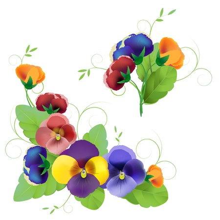 Set of gentle floral patterns with pansy Vector