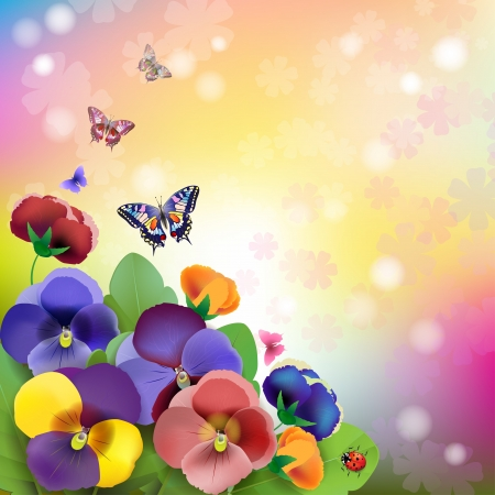 Floral background, colorful pansies flowers in the meadow