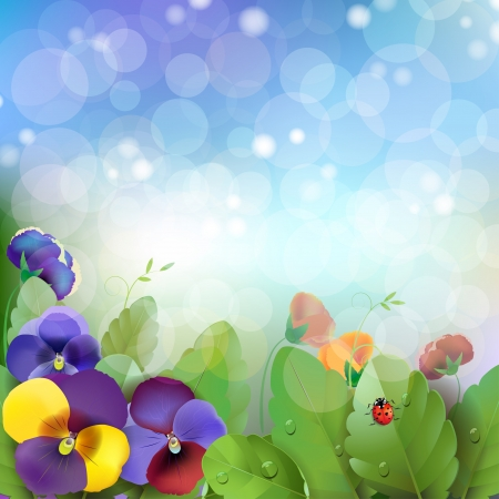 Floral background, colorful pansies flowers in the meadow Vector