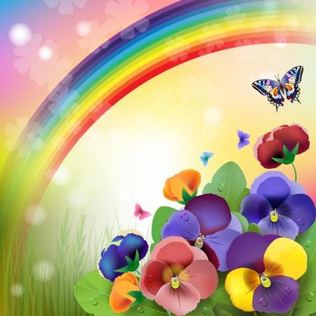 花の背景、虹、牧場でカラフルなパンジー花