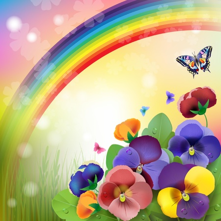 Floral background,rainbow, colorful pansies flowers in the meadow