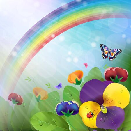 Floral background,rainbow, colorful pansies flowers in the meadow Vector