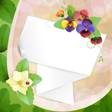 Piece of paper with colorful pansies Illustration