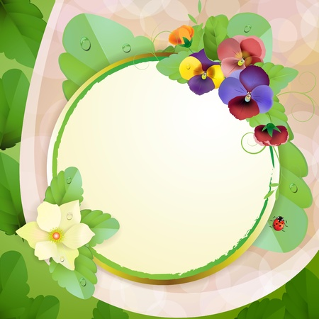 Floral background with colorful pansies Vector