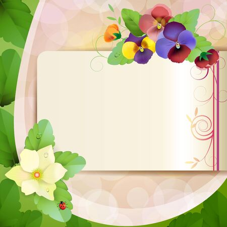 Piece of paper with colorful pansies Stock Vector - 14404167