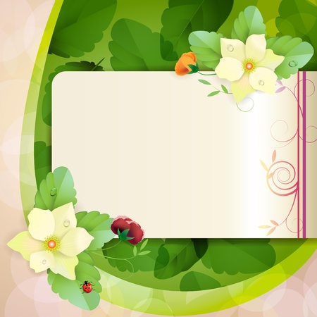 Piece of paper with colorful pansies Vector