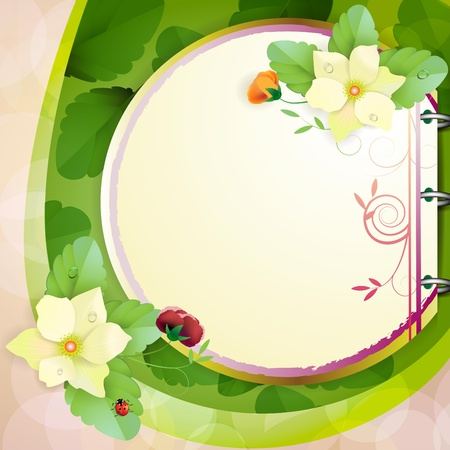 Piece of paper with colorful flowers Vector
