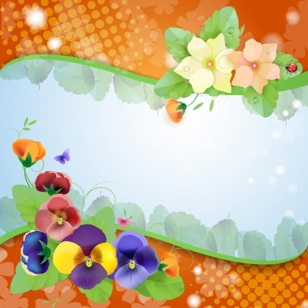Floral background, colorful pansies flowers Vector