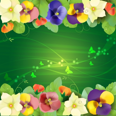 Floral background, colorful pansies flowers  Stock Vector - 14708077