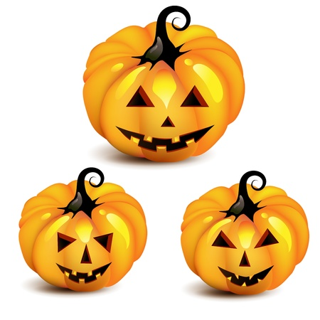 Halloween pumpkin over white background Vector
