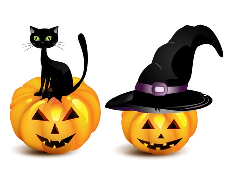 Halloween pumpkin in the Black Witch Hat and cat Vector
