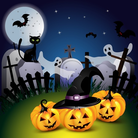 Halloween with pumpkin ,ghost and bat 일러스트
