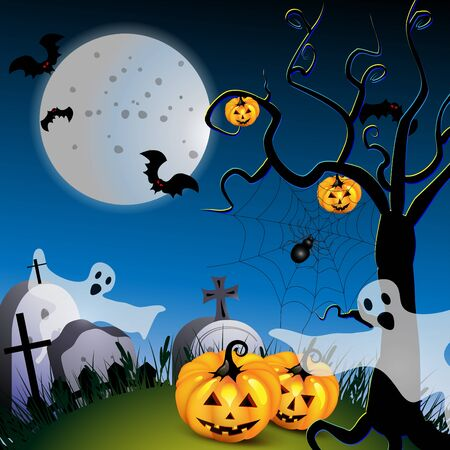Halloween with pumpkin ,ghost and bat and tree Vector