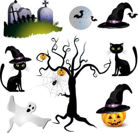 Halloween with pumpkin ,ghost , bat  and tree Vector