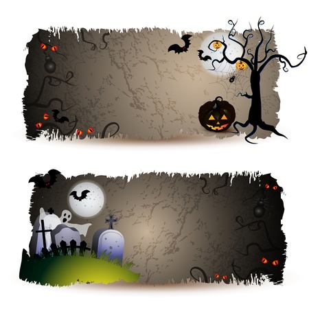 Halloween  banners with pumpkin 矢量图像