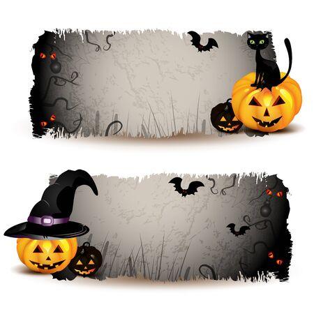 calabazas de halloween: Banners de Halloween con calabaza