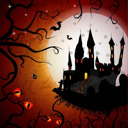 Halloween card  with ghost castle Illustration
