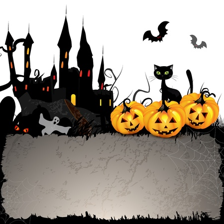 Halloween card with pumpkin and ghost castle Vector