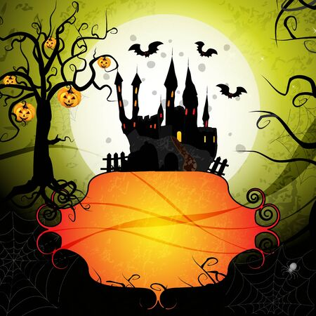 Halloween card with pumpkin and ghost castle