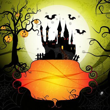 boom halloween: Halloween-kaart met pompoen en spook kasteel Stock Illustratie