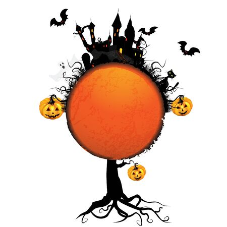 Halloween card with pumpkin and ghost castle over white Vector