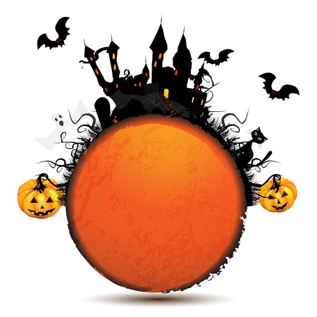 Halloween card with pumpkin and ghost castle over white 일러스트
