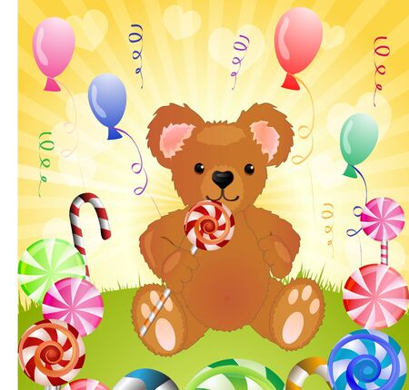 Bear with candy and balloons