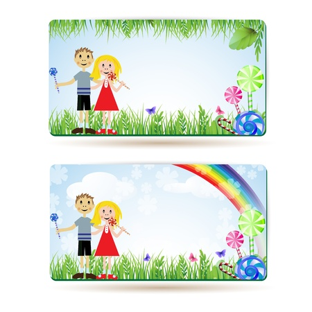 Children with candies , balloons and rainbow , banner Vector