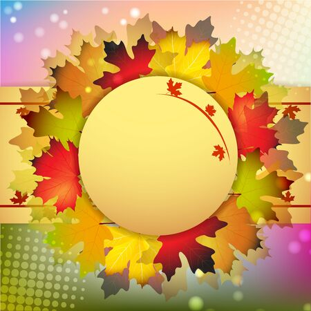 Beautiful autumn frame with maple leaves Stock Vector - 15066054