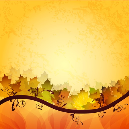 saturated: Fall leafs abstract background Illustration