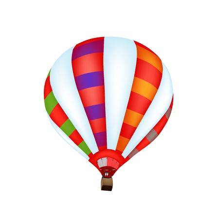 inflar: Colorido globo de aire caliente en el fondo blanco