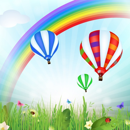 Spring landscape with hot air balloons and rainbow  Vector